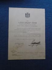 SIGNATURE OF ALEKSANDAR I ( KING OF YUGOSLAVIA ) ON COMMAND 1919 #2