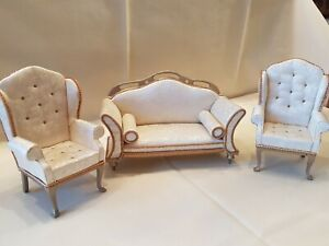 Dolls house artisan Lyntel sofa and two matching armchairs signed 1990's