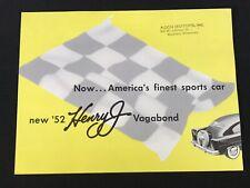 Vtg 1952  Kaiser Frazer Henry J Vagabond Car Sales Brochure