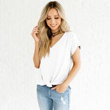 Women's Twist Front Short Sleeve T Shirt Baggy Fit Slim Plain Casual Tops Blouse