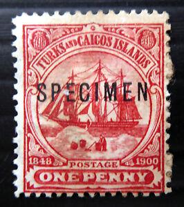 "TURKS & CAICOS ISLANDS 1900 - 1d ""SPECIMEN"" No Gum/Staining CX794"