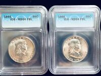 1955 Franklin 50 Cent Silver Half Dollar ICG Certified MS 64 FBL Bright White