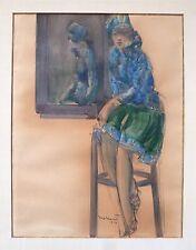Armand Massonet dessin encre aquarelle et gouache signé daté 1927 Belgique