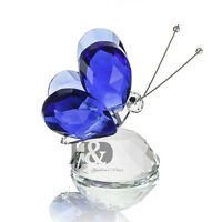 Violet Crystal Flying Butterfly Cut Paperweight Decor Collectible Valentine Gift