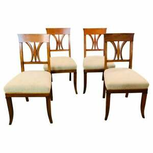 Set From 4 Biedermeier Chairs from The 19. Century From Cherry Wood, 1820