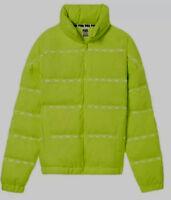 NWT Victoria's Secret Pink Puffer Winter Coat Zip Jacket Hoodie Med Lime Green