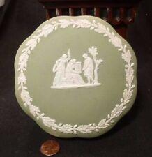 WEDGWOOD Jasperware Sage Green DRESSER BOX & LID powder vanity trinket jewelry