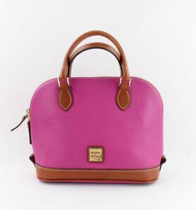 Dooney & Bourke Auth Magenta Pebbled Leather Zip Zip  Satchel Handbag