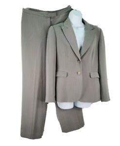 Tahari ASL 8 Petite 2Pc Pant Suit Gray Pinstripe Jacket Pant Business Career