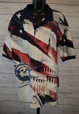 Cotton Trader Sports Polo White House Statue Liberty B-52 Flag USA Sz L #1859