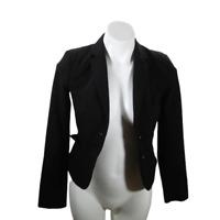 H&M Women Small Formal Blazer Black Long Sleeve Button Front Pockets 03275