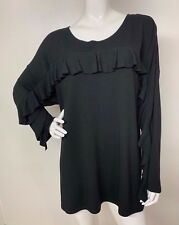 Women's New Plus 2X Black Top Ruffle Blouse Sweatshirt Pullover Long Sleeve NWT