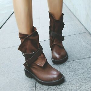 Womens Buckle Ankle Strape Low Heels Slouch Boots Vintage Fashion Round Toe Shoe