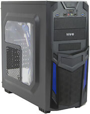 VIVO ATX Mid Tower Computer Gaming PC Case Black Blue/ 3 Fan Mount, Dual USB 3.0