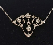 VINTAGE ART DECO 18K WHITE GOLD 1.60CT DIAMONDS CHAIN PENDANT EXQUISITE NECKLACE