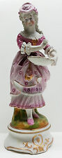 German Bisque Woman Figurine, Lace Dress, Holding Bowl, Hand Painted Pink Lady