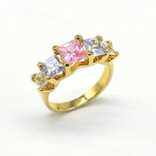 Noble Jewel 16K Gold Plated Five Princess Cut Colourful CZ Ring