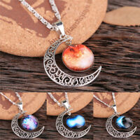 Luminous Moon Necklace Glow In The Dark Pendant Necklace Vintage WomenJewelry .*