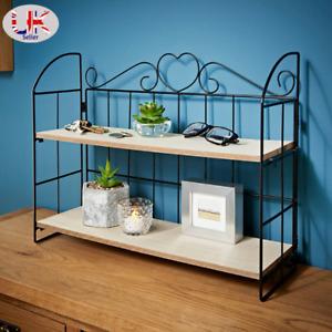2 Tier MDF Wood Floating Shelf for Storage Wall Living Room Bedroom Decor Black