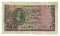 South Africa Banknote 10 Pounds Pond P98 Key Date 1953 VF Rare Suid Old Bargain