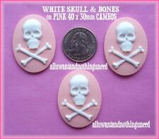 3 WHITE SKULL on PINK 40 x 30mm PUNK GOTH PIRATE CAMEOS