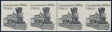 "#1897Ac STRIP OF 4, IMPERF WITH PLATE #4 2¢ ""LOCOMOTIVE"" MAJOR ERROR BQ9885"