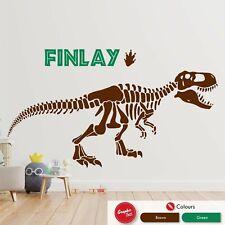 Personalised Dinosaur Skeleton Wall Art Sticker Jurassic Kids Bedroom Decal