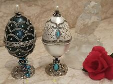 Wisdom Gifts for Mother Father Xmas Mom Dad 2 Jewelry Boxes Real Faberge Egg Hmd