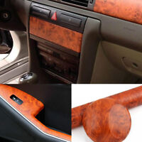 Brown Wood Grain Textured Vinyl Wrap Sticker Car Interior Decal Sheet 100x30cm