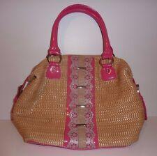 NICOLE LEE Hot Pink Patent leather / Basket Weave Dome Satchel Handbag