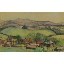 Original Mid Century Hop Kiln Watercolour Landscape Unframed Unsigned 25 x 38cm