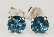 BEENJEWELED GENUINE NATURAL MINED SKY BLUE TOPAZ EARRINGS~STERLING SILVER~6MM