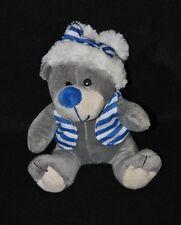 Peluche doudou ours WINDEL GMBH gris gilet & bonnet bleu rayé blanc 16 cm NEUF