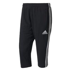 Adidas Men Tango Pants 3/4 Slim Fit Tapered Leg Football Sport Gym Running Black