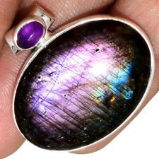 Spectrolite Purple Labradorite - Finland & Amethyst 925 Silver Pendant AP212701