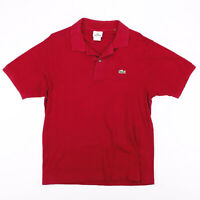 LACOSTE  Red Classic Short Sleeve Polo Shirt Mens M