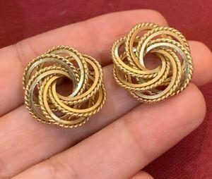 """14K GOLD STUD EARRINGS Knot Flower Earrings  Knotted Twist Stud Post ! 1"""" 6g"""