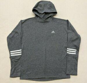 Adidas Climawarm Response Pullover Hoodie Running Top Gray/White Modern Fleece S
