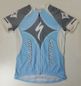 Specialized Women's Size Large Cycling Full Zip Blue Grey & White Jersey