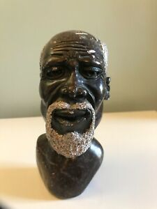 Vintage African Head Sculpture Hand Carved Stone