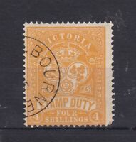V133) Victoria 1896-99 4/- Orange wmk V over Crown Stamp Duty SG 346
