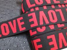 "2 yards 1 1/2"" width black&red color in love pattern heavy duty high end velvet"