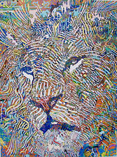 Guillaume Azoulay GEOMETRIES FELINE LION Hand Signed Giclee Art on Canvas