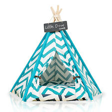 PLAYDO Pet Teepee Dog Cat Bed Portable Pets House Strip Style Kitten Kennel Tent