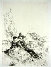 Gravure Pointe seche XIX° Scene galante1 par Norbert Goeneutte papier Van Gelder
