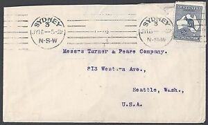 AUSTRALIA 1913 US Sc 4 TIED SYDNEY NSW TO SEATTLE WASHINGTON