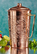 Solid Copper Thick 1mm Engraved Water Moscow Mule Ayurveda Pitcher Jug with Lid