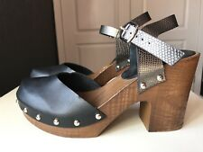 Spot On Ladies Ankle High Heel Shoe Black Wooden Clog Shoe Sandal Size 5 38