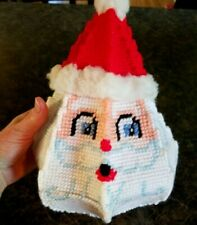 Vintage Cross Stitch Santa Basket HaT is LiD! Needlepoint Christmas Decoration