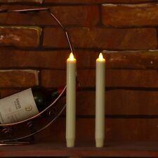 "Luminara Dancing Wick Flameless Dinner Candle 8"" Real Wax Taper 2 pcs Wedding"